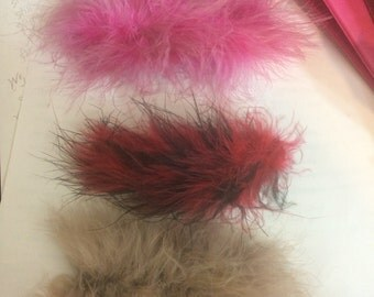 Three Red/Black, Pink, Gray Marabou Feather Barrettes!