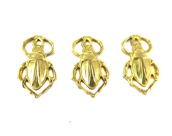 Brass Beetle Charms (4X) (M855)