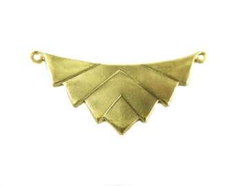 Brass Art Deco Pendant - Double Bail (2X) (M882)