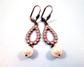 Rhinestone Earrings, White Glass Rhinestones and Pearls, Gunmetal Silver Drop Earrings, FREE Shipping U.S.
