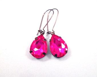 Rhinestone Drop Earrings, Fuschia Pink Glass Stones, Gunmetal Silver Dangle Earrings, FREE Shipping U.S.