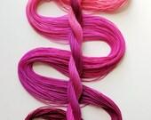 "Size 20 ""Raspberry Sorbet"" hand dyed thread 6 cord cordonnet tatting crochet cotton"