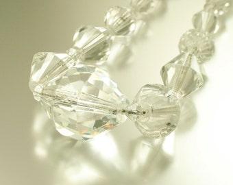 Vintage/ antique/ estate Art Deco 1930s/ 1940s, geometric clear cut crystal glass costume necklace - jewelry jewellery - sale bargain