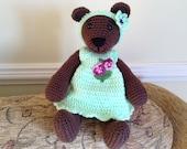 Crocheted Bear in a Dress, Crocheted Artists Bear,  Handmade Girl Bear, Crocheted Girl Bear, Collectors Bear