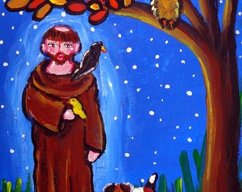 Saint Francis Animals Dogs Whimsical Colorful Folk Art Giclee Print