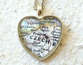 Prague Map Necklace - Featuring Chesapeake, Norfolk, Cape Henry, Cape Charles, and more - Custom Map Jewelry