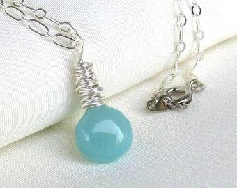 Aqua Chalcedony Necklace, Sterling Silver Wire Wrapped Heart Briolette Pendant, Pale Aquamarine Blue Pendant Necklace