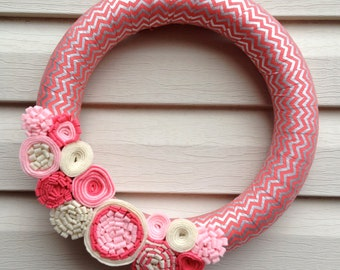 Valentine's Day Wreath - Valentine Wreath - Salmon & Silver Chevron Wreath - Chevron Wreath - Felt Flower Wreath - Pink Valentine Wreath