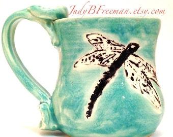 Ceramic Dragonfly Mug on Jade Green Made to Order Wheel Thrown Stoneware Kitchen Cup Coffee Mug MG0057