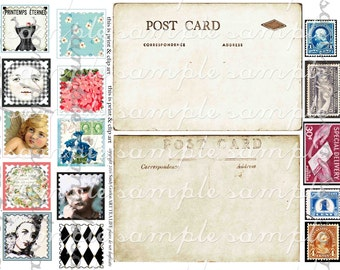 ART TEA LIFE Postage Stamp Postcards Collage Sheet Digital File printable atc stickers magnets party favor clip art gift tags decoupage