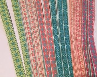 "3/8"" Weaving Star Paper~ Nordic Diamond/Star Prints (50 strips)"