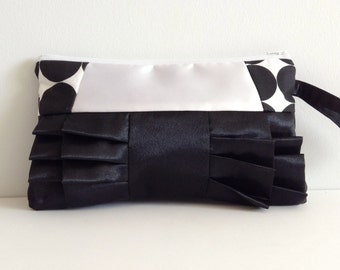 Black and White Geometric Satin Ruffled Clutch