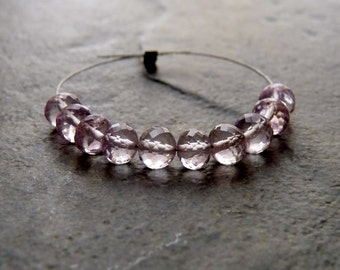 AAA Pink Amethyst Faceted Rondelle Beads - 4mm - 10 Beads