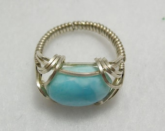 Lovely Larimar Sterling Silver Wirewrapped Ring, sz 9