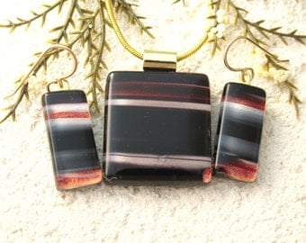 Necklace & Earring Set, Dichroic Jewelry, Red Black White, Fused Glass Jewelry, Dichroic Glass Jewelry,Gold Filled Earrings, 062016ps101