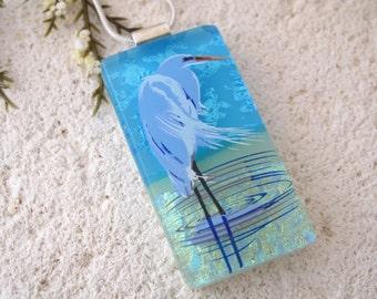 Heron Necklace, Dichroic Blue Heron,Silver Necklace,  Dichroic Jewelry, Fused Glass Jewelry, Bird Necklace,Dichroic Jewelry, 092516p101