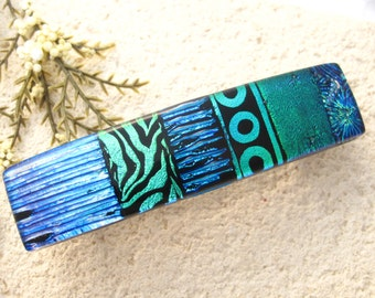 Medium Dichroic Barrette, Blue & Green Barrette, Hair Barrette, French Barrette, Fused Glass Barrette, Fused Glass Jewelry,   031616ba102