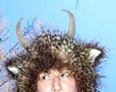 Furry Horn Hat Monster Wild Thing Hat Feather Fur Woodland Beast Geek Fur Hat Adult Fetish Horn Imp Satyr Yak Hat