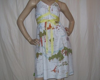 Pooh Bear Geek Dress Hippie Aline Sundress Vtg Whinnie Roo Piglet Owl Eeyore Fabric Mom Party Shower Maternity OOAK Adult S M L Sundress