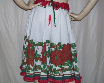 Christmas Skirt Red Green White Vintage Poinsettia Holly Fringe Trim Skirt for Ugly Sweater Party Adult Free Size S M L XXL Plus