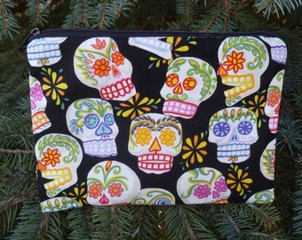 Sugar Skulls Makeup Bag, Day of the Dead zippered bag, The Scooter