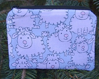 Sheep coin purse, credit card case, gift card pouch, sheep stitch marker pouch, Cute Sheep, The Raven