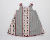 Red, Black & Gray Striped Leafy Dress - Toddler Girls' Dress Size 2T - Children's Clothing, Handmade Girls' Dress, Striped Dress, Sundress