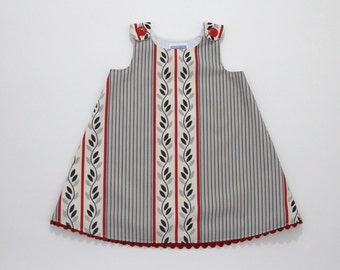 Red, Black & Gray Striped Leafy Dress - Toddler Girls' Dress Size 2T - Children's Clothing, Handmade Girls' Dress, Climbing Vines and Leaves