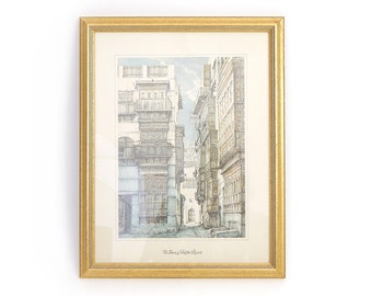 Vintage Framed Saudi Arabian Lithograph - A Narrow Street in the Shadows - Al-Balad / Old Jeddah Architecture Print- Framed Wall Art
