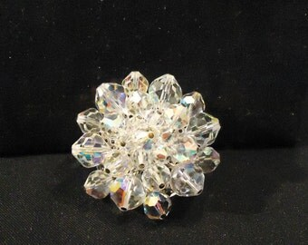 Round Shaped Glass Beads Clear Iridescent Crystals Brooch