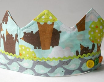 Woodland Birthday Crown: Patchwork Fabric Dressup Toy for Kids Age 2 and Up
