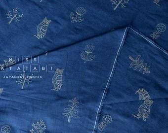 Japanese Fabric Kokka embroidered double gauze - blue - 50cm