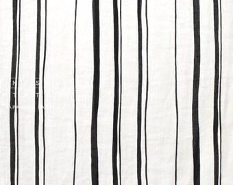 Japanese fabric abstract striped linen - black, cream - 50cm