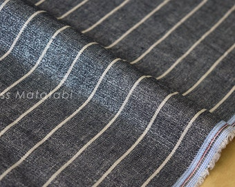 Japanese Fabric - Linen Shimmer Stripes - silver indigo blue - 50cm