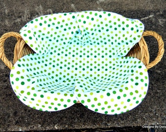 Basket Liner, Table Topper, Bread Cloth, Centerpiece, 3 Different Shades of Green Polka Dots, Handmade Table Linens