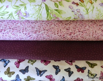 Fabric 4 Piece, 1/2 yard Bundle Quilt Fabric, Butterflies-Butterfly Wings-Flowers, Sewing, Quilting Supplies