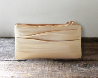 Gold Satin Pleated Clutch