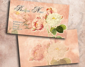 Romantic Rose White Flower Business Card Template INSTANT DOWNLOAD 3.5 x 2 Inches Roses Calling Card Vintage Flowers (BC3)
