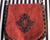 Pouch Spare Pocket Embroidery Skull Goth Crest