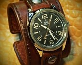 Leather Watch Vintage cuff Chocolate brown bridle leather watchband - handstitched leather watch band Made for YOU in NYC by Freddie Matara