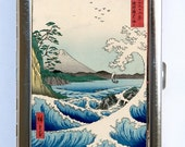Sea at Satta Waves Cigarette Case Wallet Business Card Holder japanese tattoo woodblock