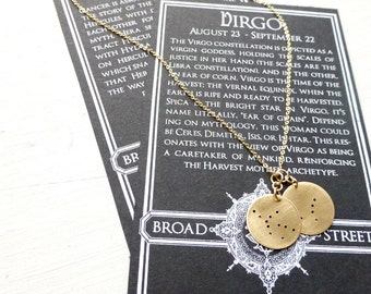 Gold-Filled/Double Zodiac Constellation Charm Necklace//Mini circle necklace//Customization//Mother's day present//Gift for girlfriend