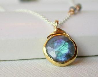 Labradorite Pendant Necklace. Labradorite Coin Necklace. Blue Flash Labradorite Necklace. Full Moon Necklace.
