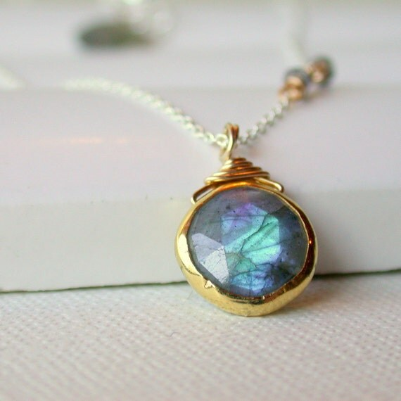 Labradorite Pendant Necklace. Labradorite Coin Necklace. Blue Flash Labradorite Necklace. Full Moon Necklace.