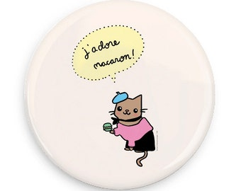 Cute Pinback Button French Cat French Macaron J'adore Macaron Gift for Paris Lovers Cute Cat Magnet Pin Badge