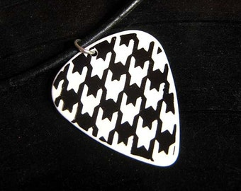 SALE - Discontinued Guitar Pick Necklace, 5 designs, houndstooth, fishnet, fleur de lis, drips, leather or chain