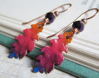 Vibrant Harvest - Hand-painted Ombre Leaf Earrings