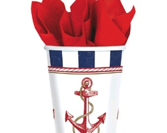 Anchors Aweigh Party Paper Cups-8 Count (9oz.)