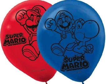 Super Mario Printed Latex Balloons-NEW-12in.-Set of 6