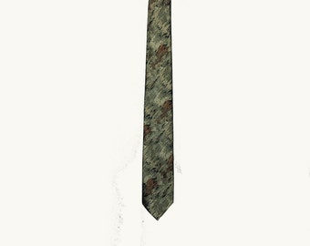 Vintage Tie, Skinny Tie, Narrow Tie, 1960's, Gray, Green, Orange, Brown